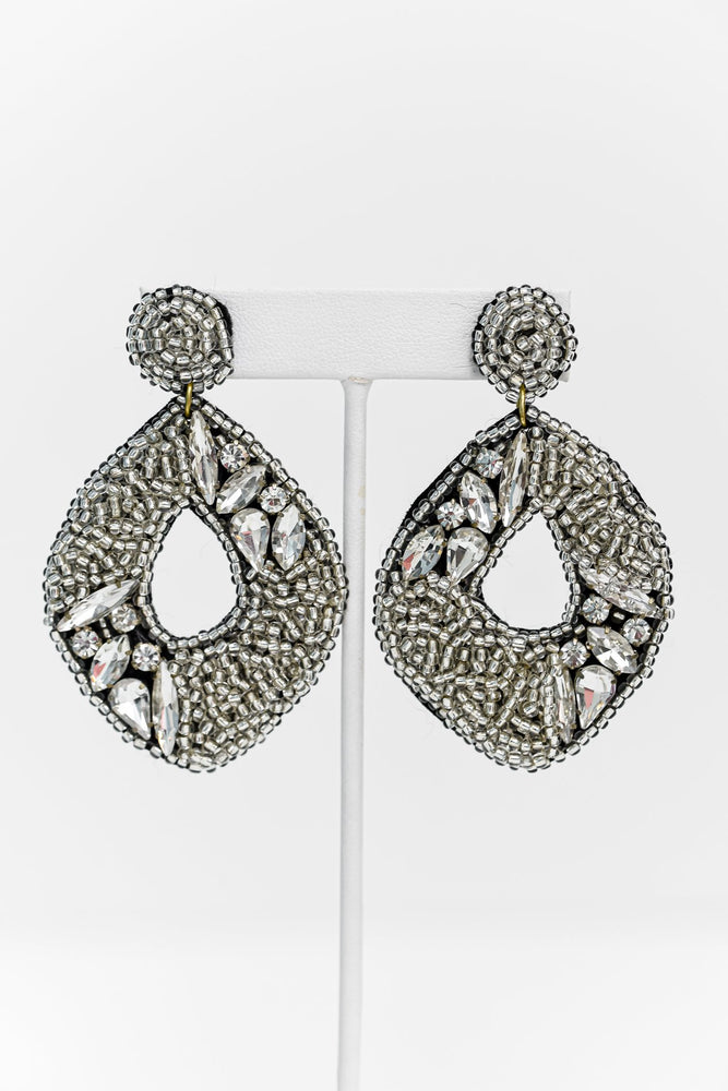 Silver Seed Bead/Bling Drop Earrings - EAR2932SI