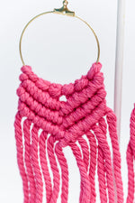 Gold Hoop/Pink Crochet Tassel Earrings - EAR2950GO