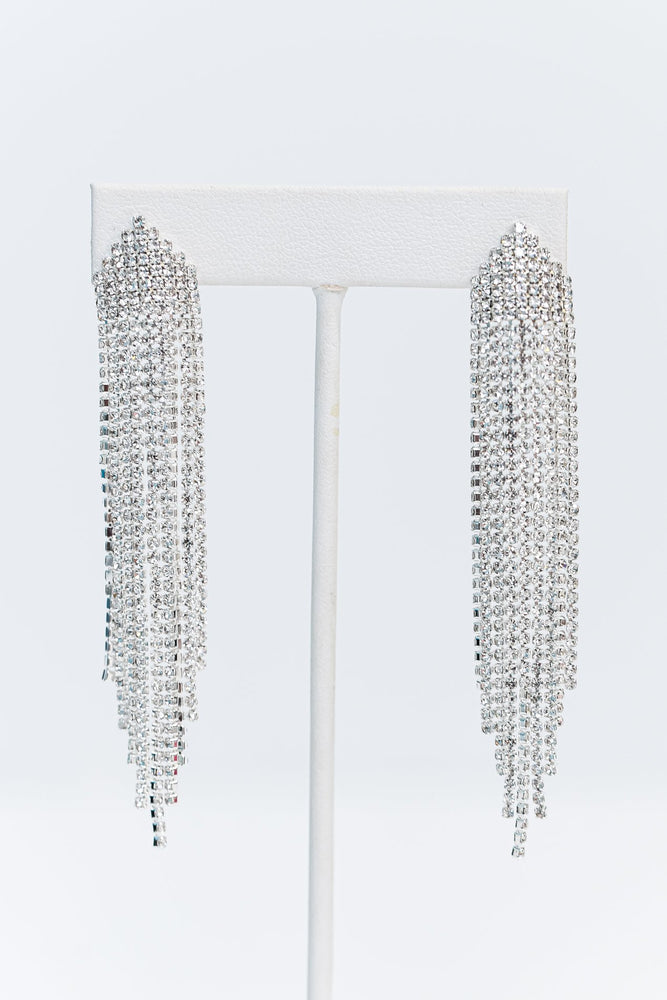Silver/Crystal Bling Drop Tassel Earrings - EAR2945SI