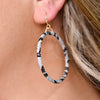 Black/White Snakeskin Hoop Earrings - EAR2929BW