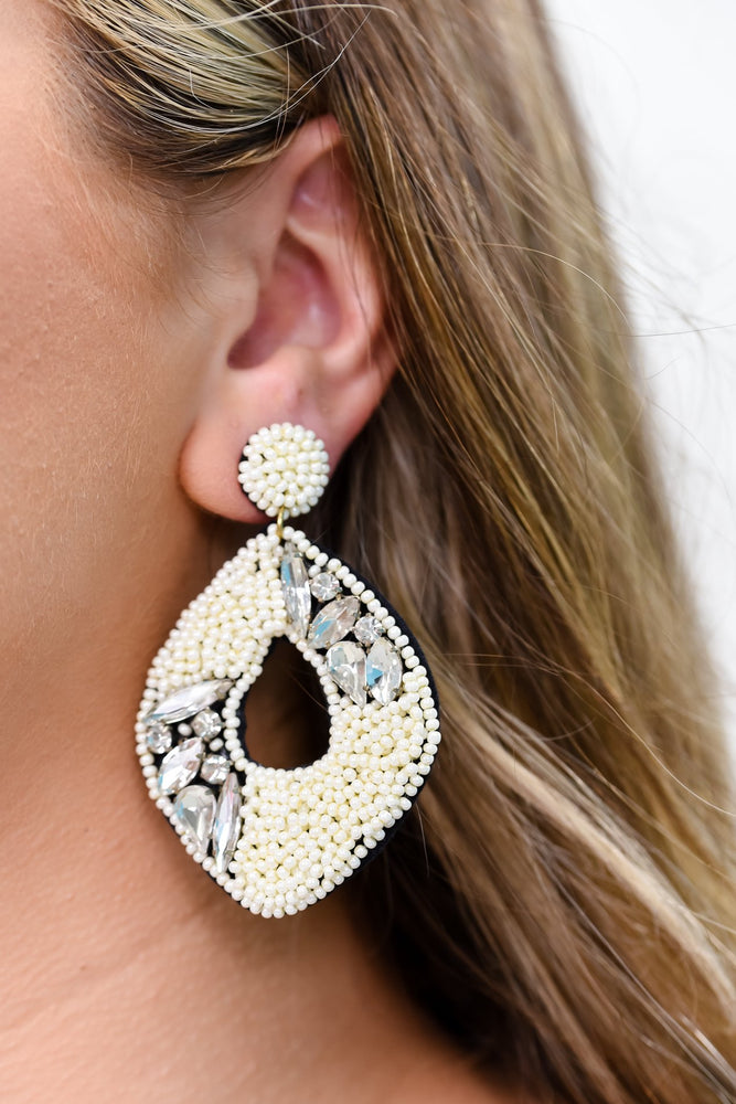 Ivory Seed Bead/Bling Drop Earrings - EAR2930IV