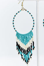 Turquoise/Black/White Seed Bead Teardrop Tassel Earrings - EAR2935TU