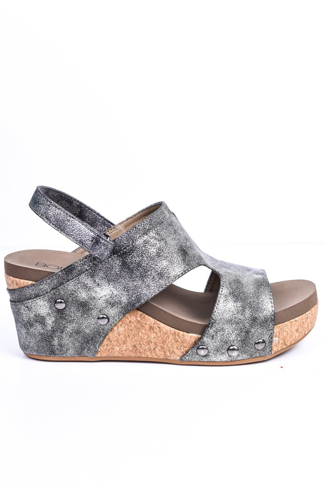 You Got Sole Black Studded Wedges - SHO1816BK