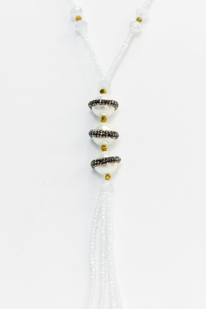 White Beaded/Bling Pearl Tassel Necklace - NEK3405WH