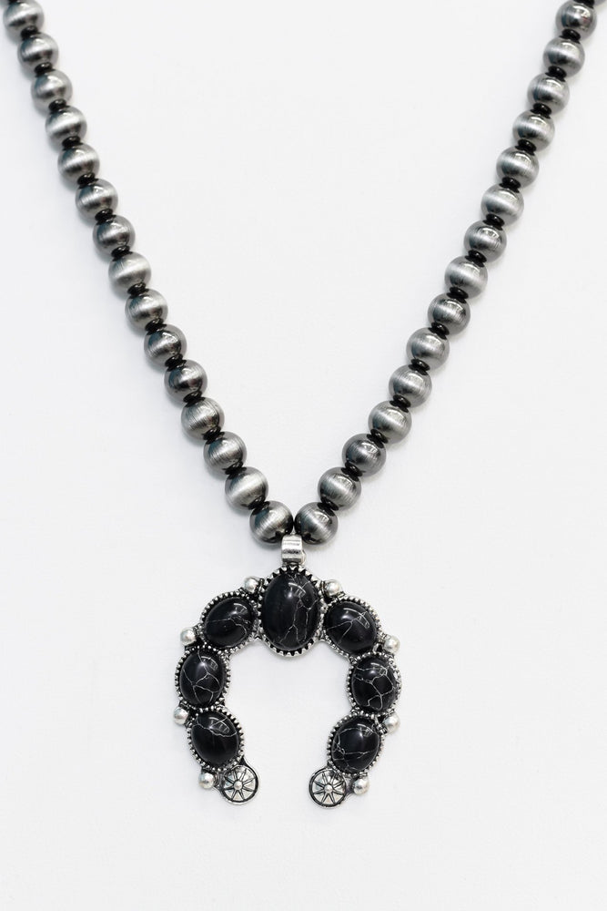 Black Marble/Silver Stone Pendant/Hematite Beaded Necklace - NEK3409BK