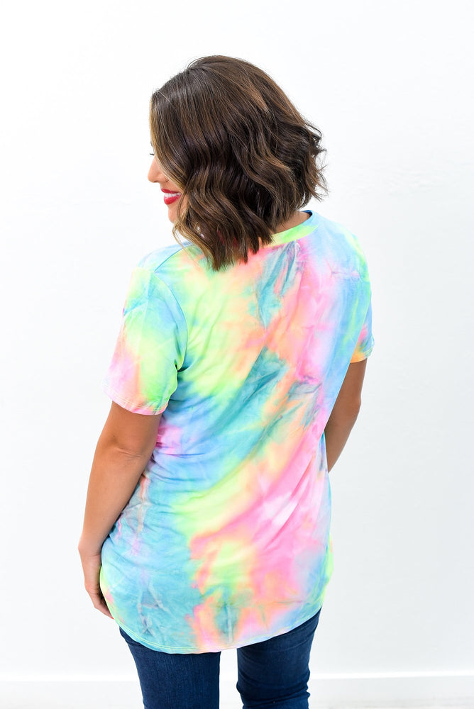 She's A Work Of Art Neon Pink/Multi Color Tie Dye V Neck Top - B8735NPK
