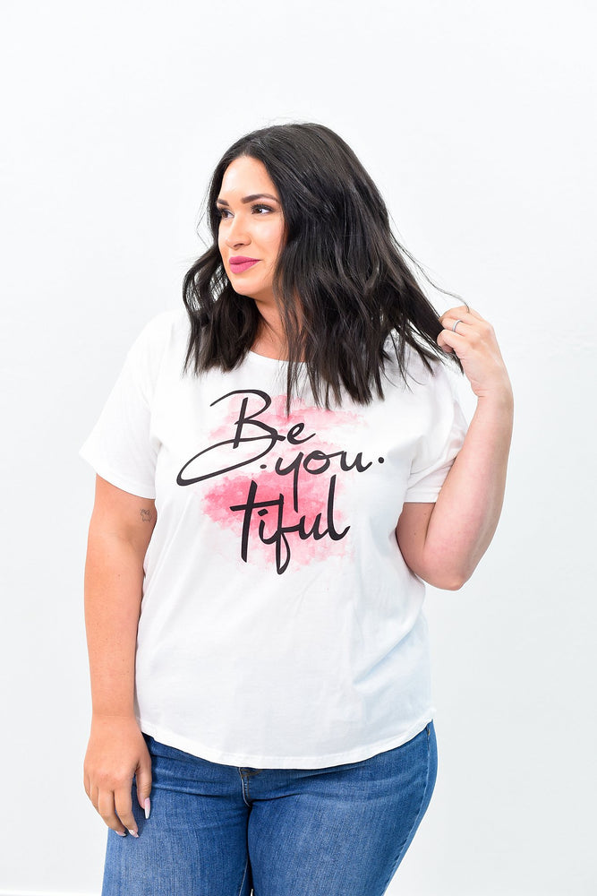 Be You Tiful White Graphic Tee - A721WH