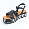 Perfect Choice Black/Multi Color Espadrille Platform Sandal - SHO1820BK