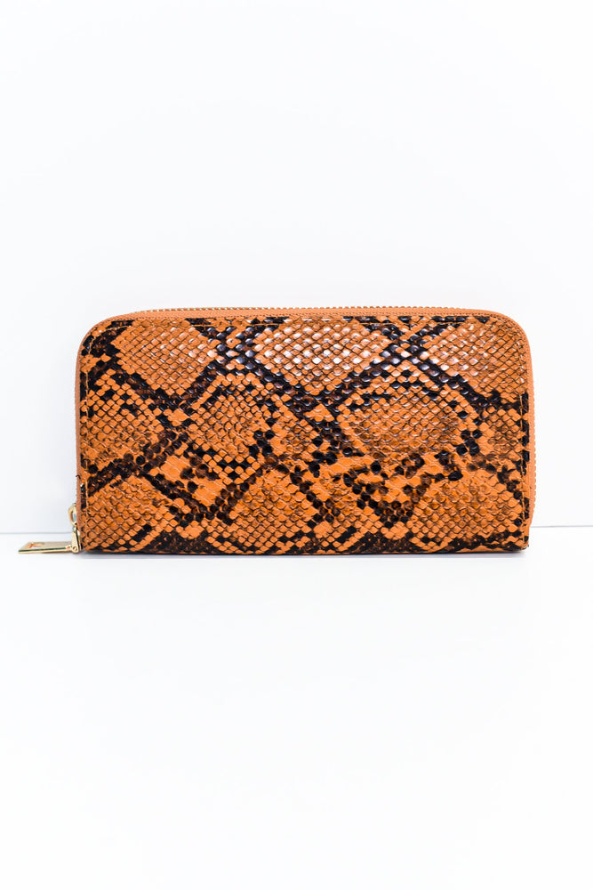 Brown/Black Snakeskin Printed Wallet - WAL1041BR
