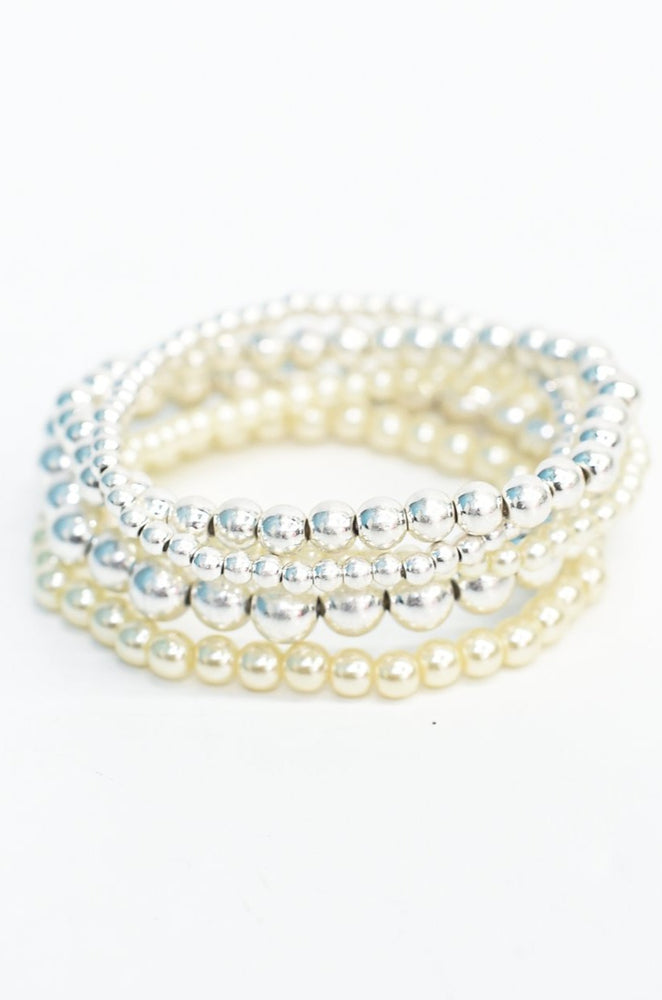 Silver/Pearl Beaded Stretch Stackable Stretch Bracelet - BRC2711SI