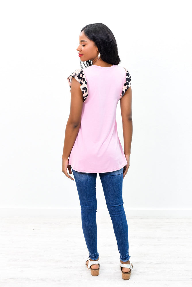 Make The Change Mauve/Pink Leopard Sleeves Top - B8787MV