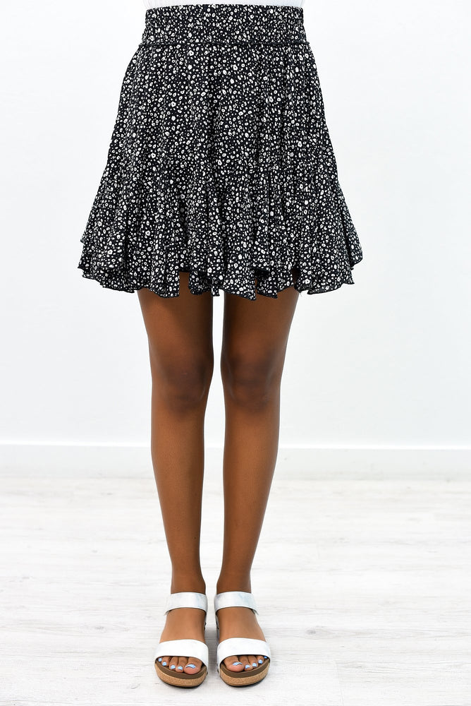 It's A Love Story Black/Ivory Leopard Skirt - E1056BK