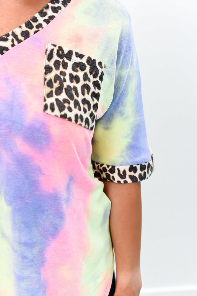 Running On Emotions Multi Color Tie Dye/Leopard V Neck Top - B8790MU