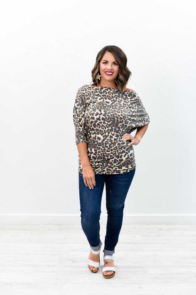 The Best Part Brown Leopard Off The Shoulder Top - B8807BR