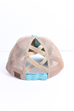 Mint/Beige Crisscross Hat - HAT1169MT