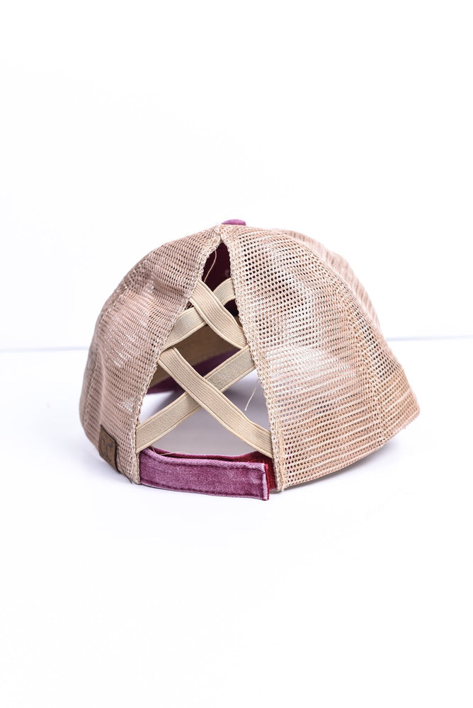 Berry/Beige Crisscross Hat - HAT1172BE