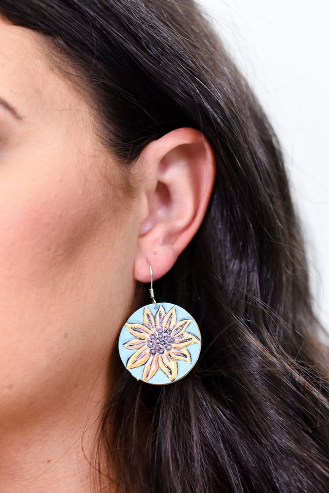 Turquoise/Yellow Sunflower Round Earrings - EAR2964TU
