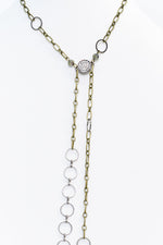 Antique Gold/Hematite Chain Bling Necklace - NEK3443AG