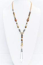 Beige Braided/Brown/Multi Color Beaded/Crystal Pendant Necklace - NEK3446BG