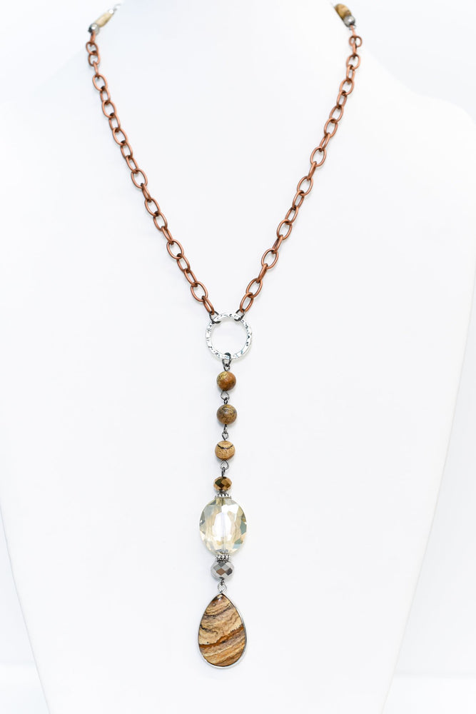 Silver/Bronze Chain/Crystal/Jasper Teardrop Pendant Necklace - NEK3441SI