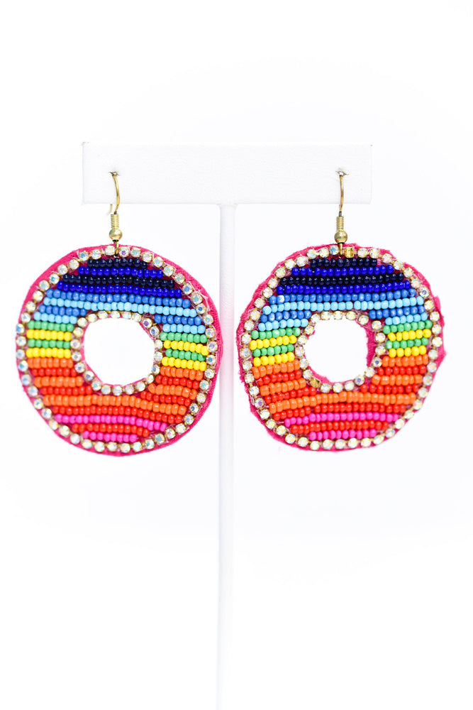 Rainbow Bling Seed Bead Cut Out Circle Earrings - EAR2973MU