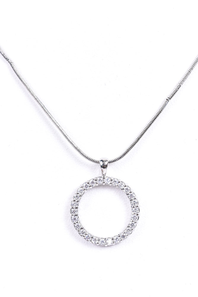 Silver Bling Circle Pendant Necklace - NEK3439SI