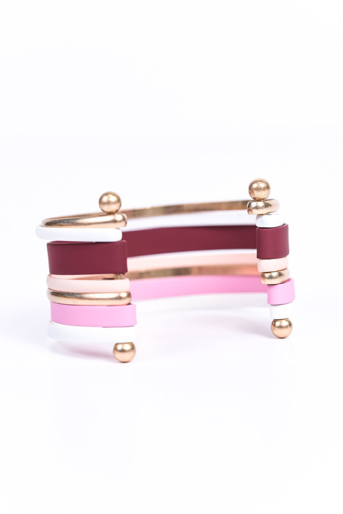 Pink/Multi Color/Gold Cuff Bracelet - BRC2727PK
