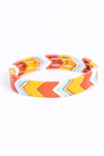 Yellow/Multi Color Chevron Stretch Beaded Bracelet - BRC2724YE