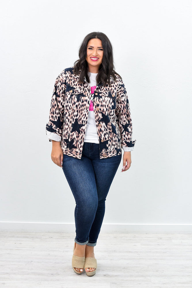 She's The Star Of The Jungle Brown Leopard/Star Printed Jacket - O2561BR