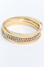 Gold Bling Bangle Stackable Bracelet - BRC2736GO