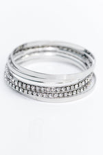 Silver Bling Bangle Stackable Bracelet - BRC2737SI