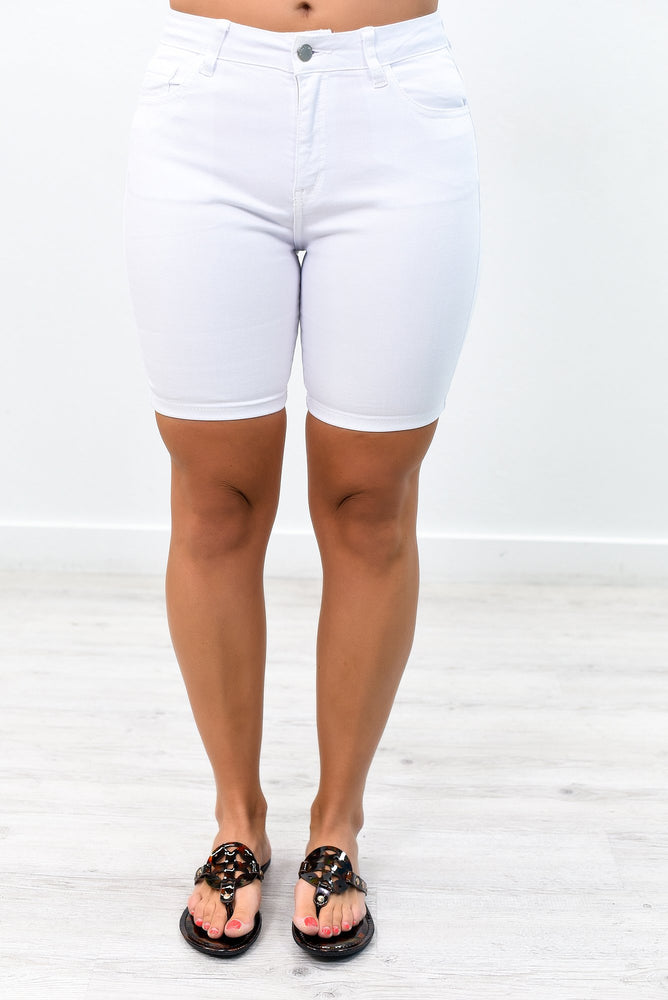 Plain Jane White Bermuda Shorts - I1219WH