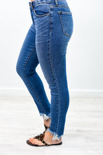 You Could Be Famous Medium Denim Frayed Jeans - K373DN
