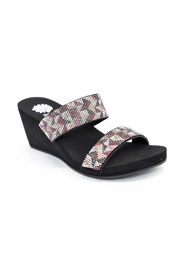 Take A Step Back Purple/Multi Color Bling Wedge Sandals - SHO1838PU