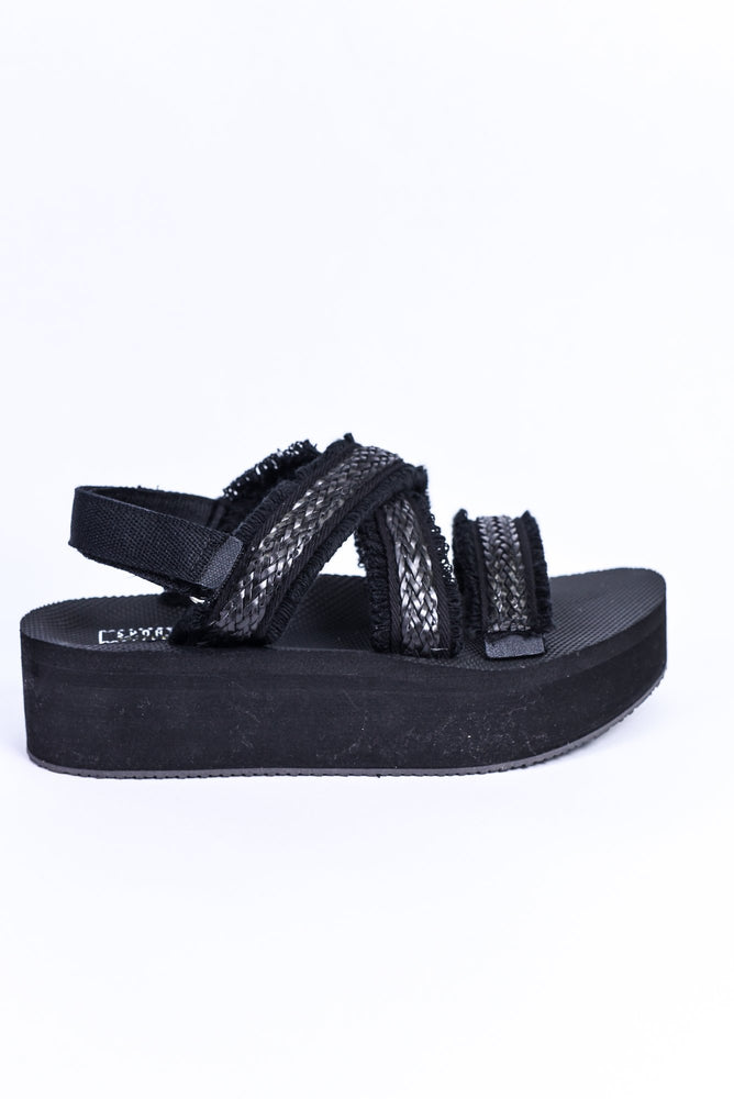 Don't Walk Away Black Frayed Platform Sandals - SHO1841BK