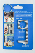 Black/White Chevron Contactless Keychain - KEY1094BK