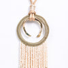 Natural Braided Hoop/Multi Color Seed Bead Tassel Necklace - NEK3458NA