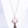 Gold Hammered/Pink Marble Stone/Brown Leather Tassel Pendant Necklace - NEK3453GO