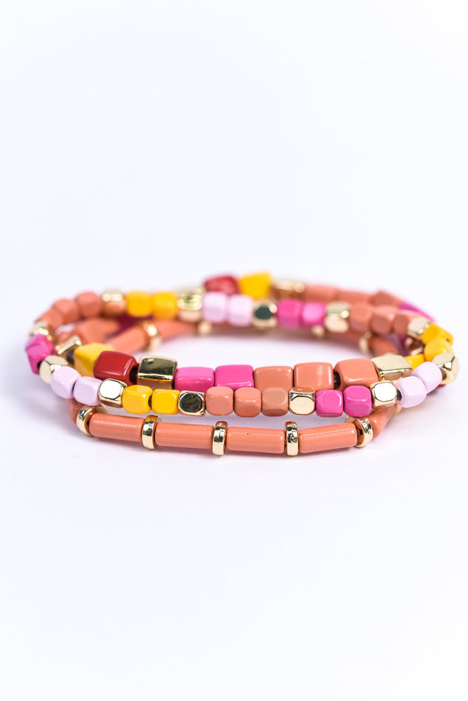 Peach/Multi Color/Gold Cube Beaded Stackable Stretch Bracelet - BRC2743PE