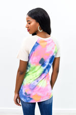 Worry Free Navy/Multi Color Tie Dye/Beige Sleeves Top - B8873NV