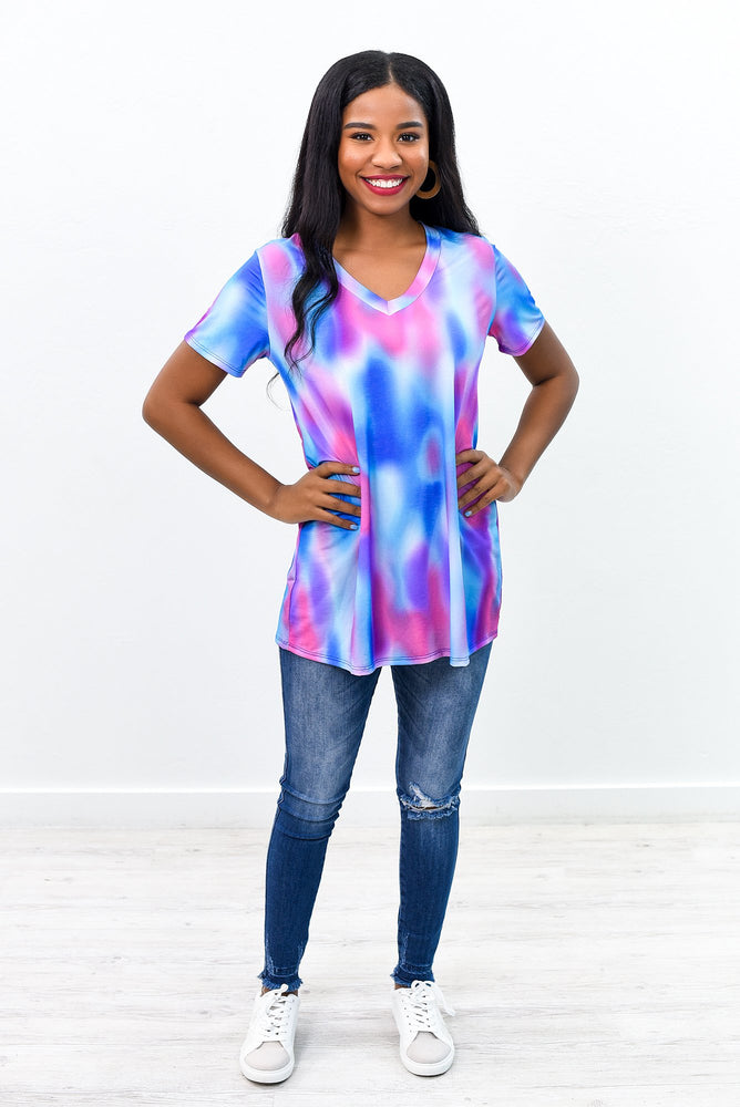 The Spaces In Between Blue/Multi Color Tie Dye V Neck Top - B8903BL