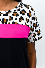 Wild About This Fuchsia/Leopard/Black Colorblock Top - B8906FU