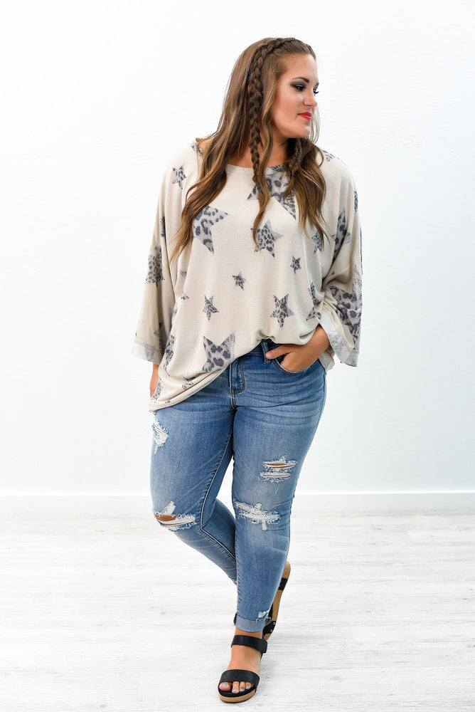 When The Stars Align Taupe Leopard/Star Printed Top - B8916TA