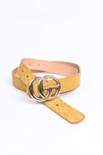 Mustard/Gold Snakeskin Belt - BLT1097MS
