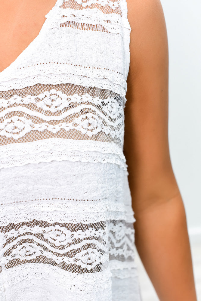 Content With Love Ivory Lace Asymmetrical Top - B8914IV
