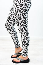 White/Black Leopard Wide Band Leggings (Size 4-12)- LEG2666WH