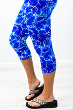 Blue Lightning Printed Capri Printed Leggings (Sizes 4-12) - LEG2674BL