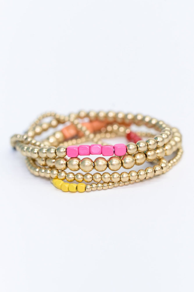Gold/Multi Color Beaded Stackable Stretch Bracelet - BRC2753GO
