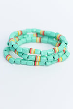 Mint/Multi Color Beaded Stackable Stretch Bracelet - BRC2756MT