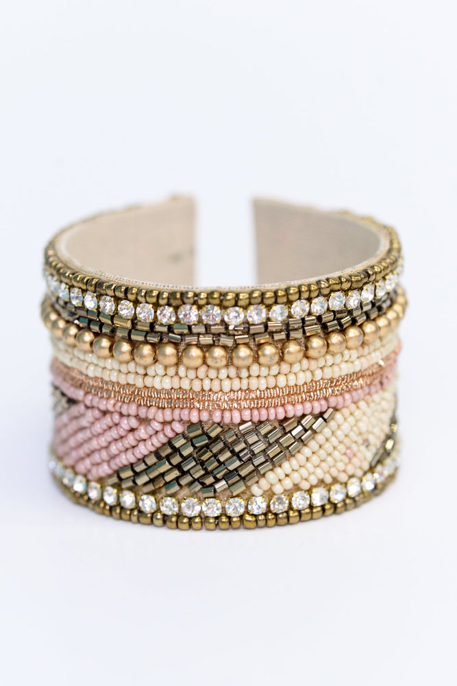 Blush/Multi Color Seed Bead/Bling Cuff Bracelet - BRC2768BS
